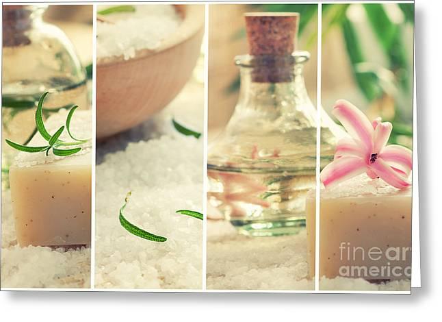 Mythja Photographs Greeting Cards - Spa collage with bath salt and flower Greeting Card by Mythja  Photography