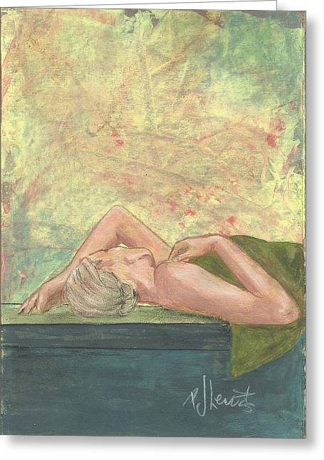 Relaxed. Drawings Greeting Cards - Spa Dreams Greeting Card by P J Lewis