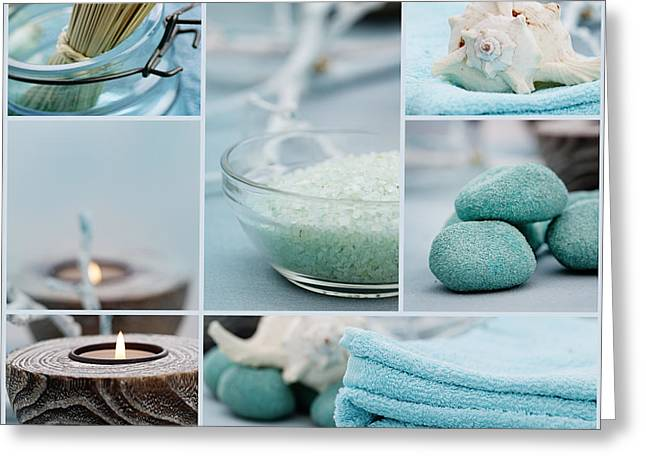 Treatment Greeting Cards - Spa purity collage Greeting Card by Mythja  Photography