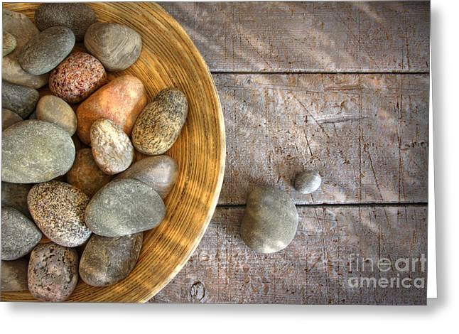 Pebbles Greeting Cards - Spa rocks in wooden bowl on rustic wood Greeting Card by Sandra Cunningham