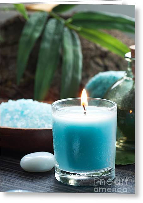 Mythja Greeting Cards - Spa setting with bath salt and candles Greeting Card by Mythja  Photography