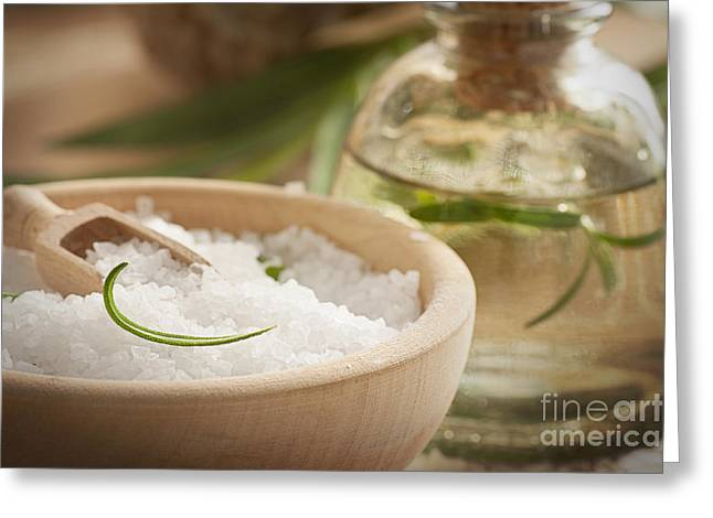 Wooden Bowl Greeting Cards - Spa setting with bath salt and soap Greeting Card by Mythja  Photography
