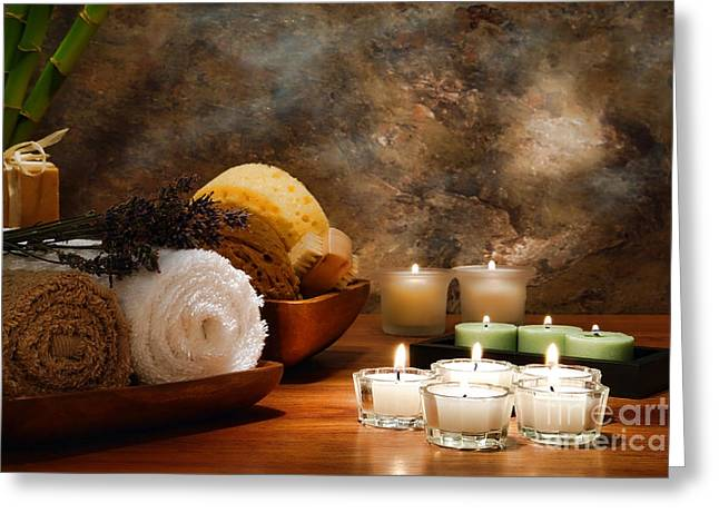 Glowing Greeting Cards - Spa Treatment Greeting Card by Olivier Le Queinec