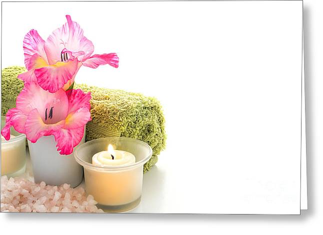 Gladiolus Greeting Cards - Spa Welcome Greeting Card by Olivier Le Queinec