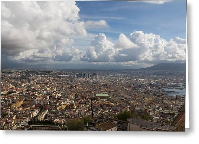 Turbulent Skies Greeting Cards - Spaccanapoli - the Historic Main Street That Divides the Center of Naples Italy Greeting Card by Georgia Mizuleva