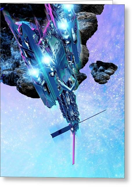 Space Above An Asteroid Greeting Card by Victor Habbick Visions