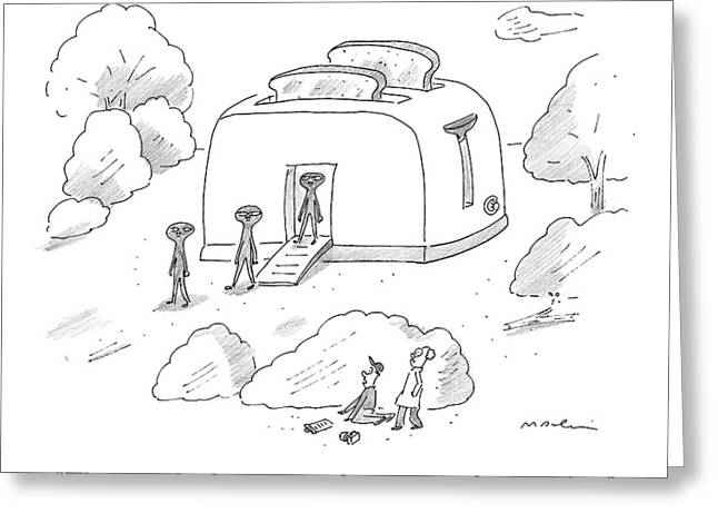 Space Aliens Walk Out Of A Giant Toaster Space Greeting Card by Michael Maslin
