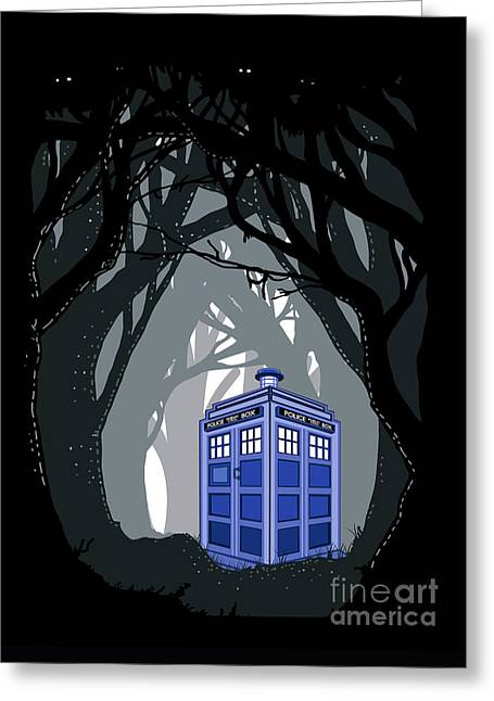 Fandom Greeting Cards - Space And Time traveller Box lost in the woods Greeting Card by Three Second