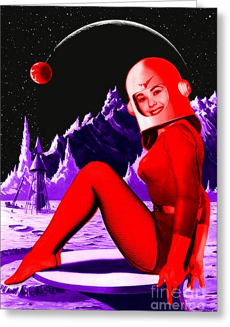 Space Babe Greeting Card by Sasha Keen