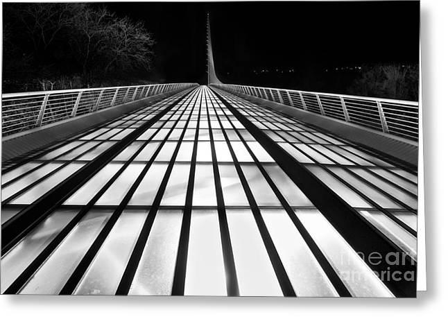 Translucent Light Greeting Cards - Space Bridge - The unique Sundial Bridge in Redding California in black and white. Greeting Card by Jamie Pham