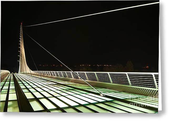 Translucent Light Greeting Cards - Space Bridge - The unique Sundial Bridge in Redding California. Greeting Card by Jamie Pham