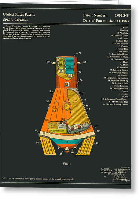 Spaceships Greeting Cards - Space Capsule Greeting Card by Jazzberry Blue