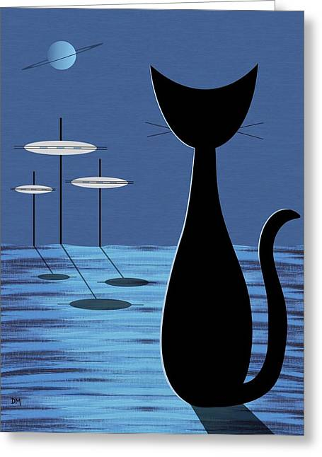 Black Cat Fantasy Greeting Cards - Space Cat in Blue Greeting Card by Donna Mibus