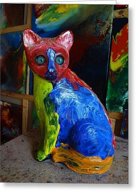 Yellows Sculptures Greeting Cards - Space Cat Image From Planet Suys Greeting Card by Jean-francois Suys