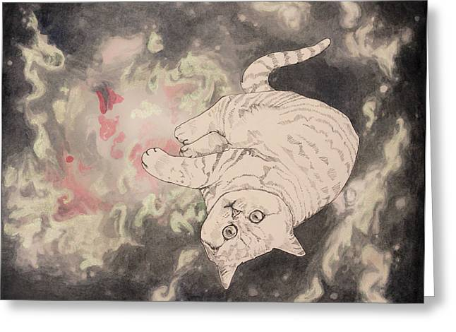 Outer Space Drawings Greeting Cards - Space Cat - Lagoon Nebula Greeting Card by Theresa Hentz