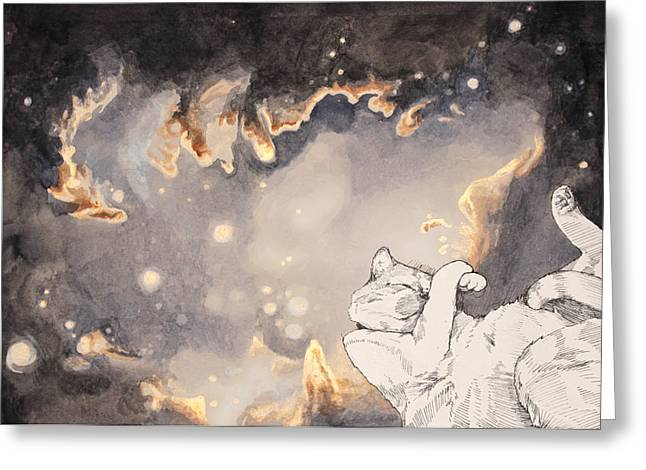 Outer Space Drawings Greeting Cards - Space Cat - Magellanic Cloud Greeting Card by Theresa Hentz