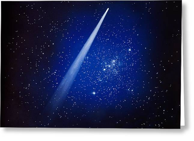 Comet Greeting Cards - Space, Comet And Stars Greeting Card by Panoramic Images