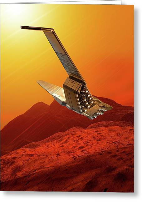 Space Craft In Outer Space Greeting Card by Victor Habbick Visions