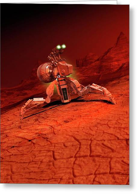 Space Craft Landing On A Red Planet Greeting Card by Victor Habbick Visions