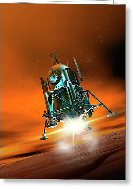 Space Craft Landing On Planet Mars Greeting Card by Victor Habbick Visions