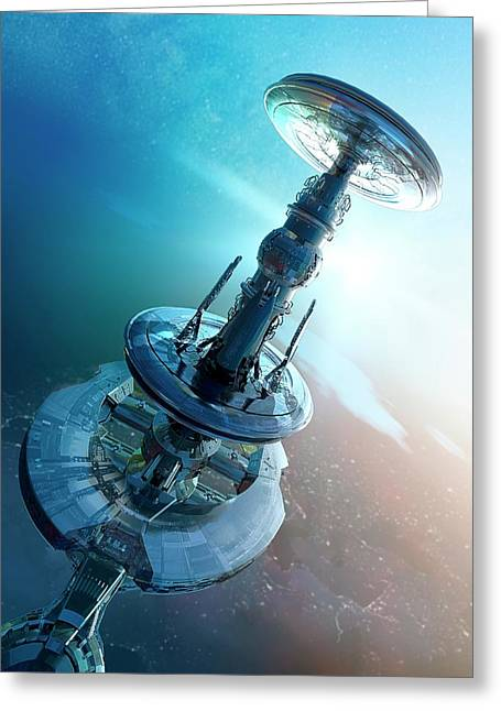 Space Craft Greeting Card by Victor Habbick Visions