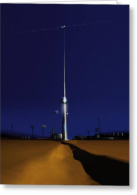 Future Tech Photographs Greeting Cards - Space elevator, conceptual image Greeting Card by Science Photo Library