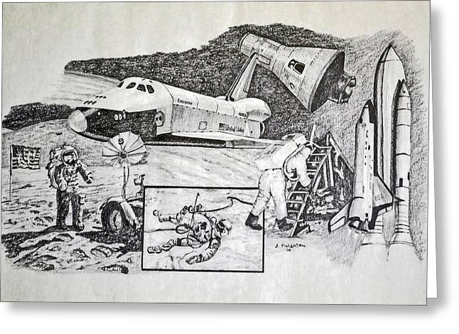 Space Shuttle Drawings Greeting Cards - Space Exploration Collage Greeting Card by James Pinkerton
