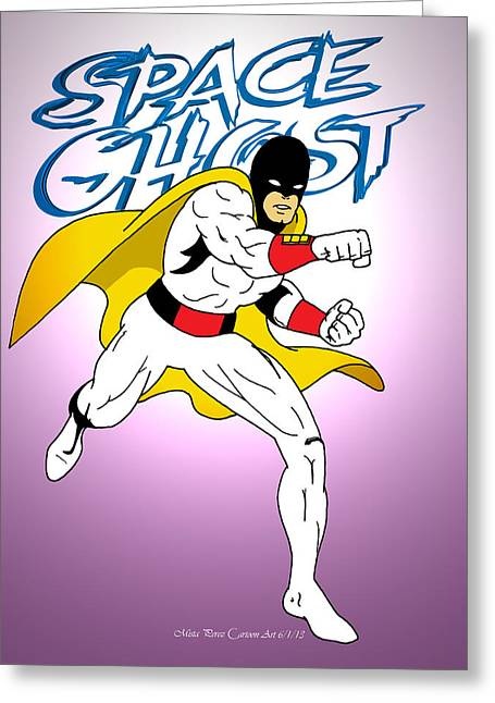 1960 Mixed Media Greeting Cards - Space Ghost Greeting Card by Mista Perez Cartoon Art