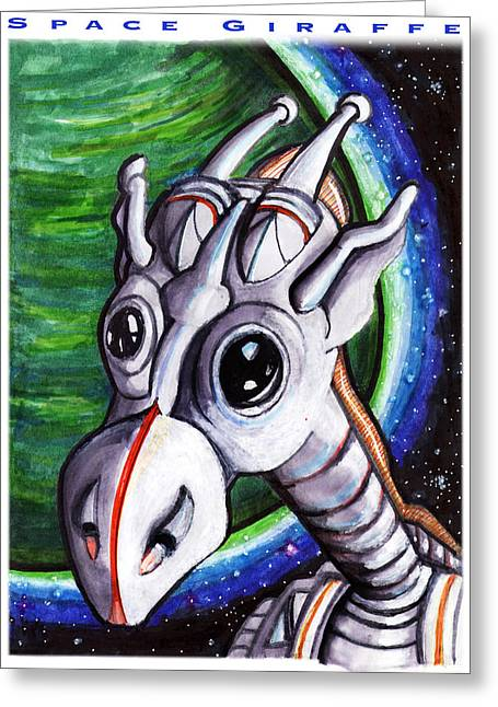 Outer Space Drawings Greeting Cards - Space Giraffe Greeting Card by Del Gaizo
