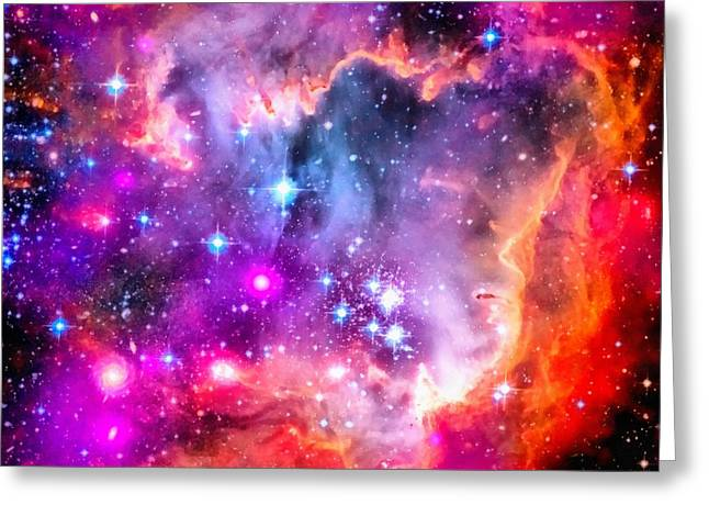 Space Image Small Magellanic Cloud Smc Galaxy Greeting Card by Matthias Hauser