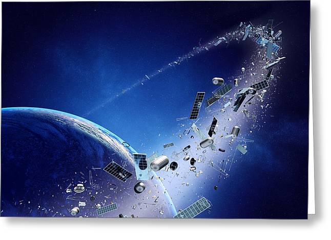 Rubbish Greeting Cards - Space junk orbiting earth Greeting Card by Johan Swanepoel