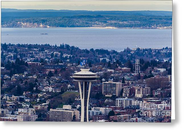 Space Needle 12th Man Seahawks Greeting Card by Mike Reid