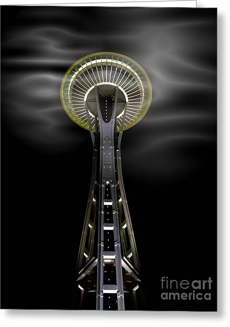 Space Needle And Clouds Greeting Card by Chalet Roome-Rigdon