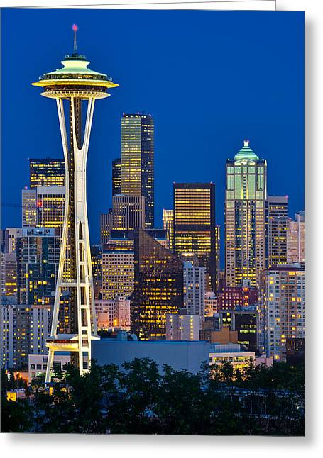 Office Space Photographs Greeting Cards - Space Needle Blues Greeting Card by Thorsten Scheuermann