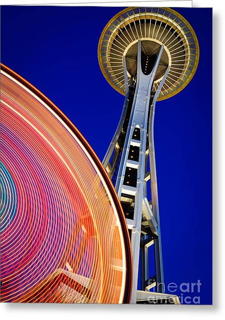 Pacific Northwest Greeting Cards - Space Needle Color Wheel Greeting Card by Inge Johnsson