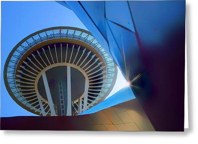 Stainless Steel Greeting Cards - Space Needle from EMP Museum Greeting Card by Nikolyn McDonald