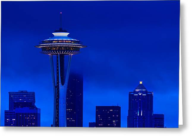 Seattle Washington Greeting Cards - Space Needle Heights Greeting Card by Steve Gadomski