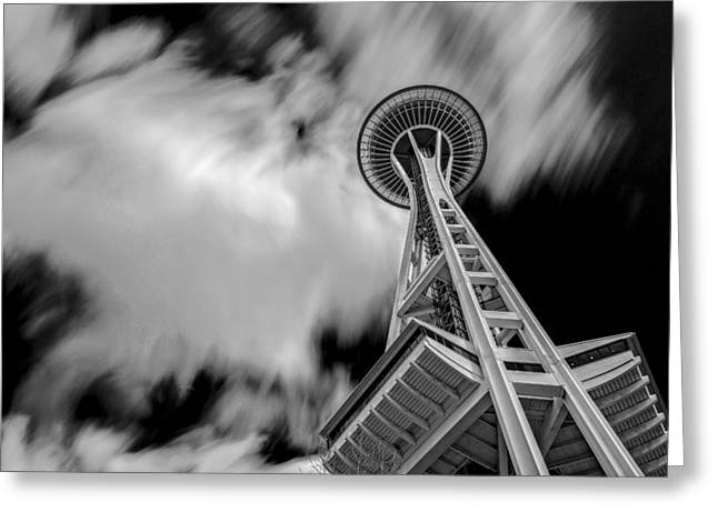 Space Pyrography Greeting Cards - Space needle Greeting Card by Jack Vainer