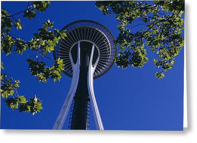 Seattle Center Greeting Cards - Space Needle Maple Trees Seattle Center Greeting Card by Panoramic Images