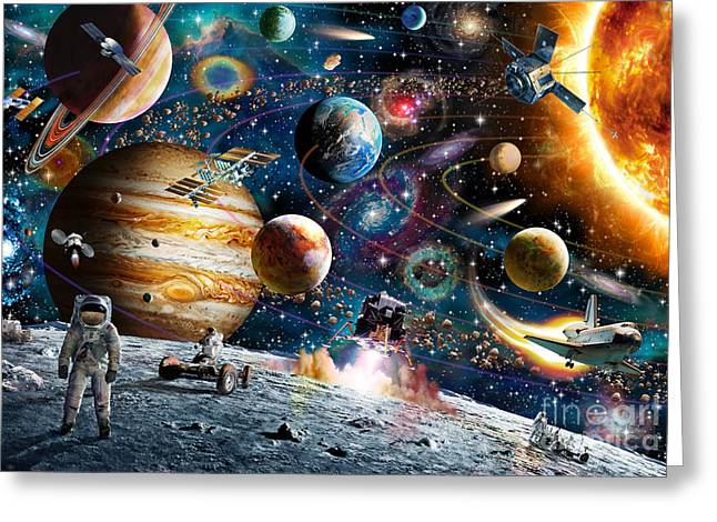 Saturn Greeting Cards - Space Odyssey Greeting Card by Adrian Chesterman