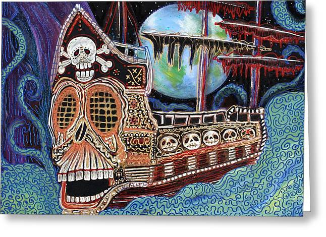 Pirate Ship Greeting Cards - Space Pirates Greeting Card by Laura Barbosa