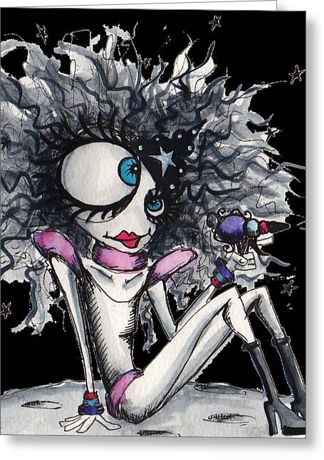 Wacky Greeting Cards - Space Queen Greeting Card by Darnel Tasker