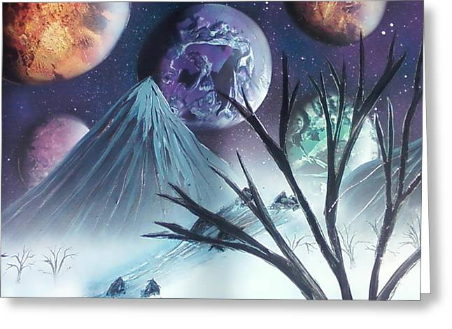 Dorsett Greeting Cards - Space River Mountains Greeting Card by William  Dorsett