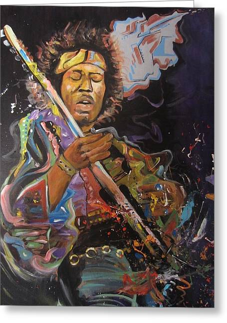 Jimi Hendrix Drawings Greeting Cards - Space Rocker. Erikfranco1.com Greeting Card by Erik Franco