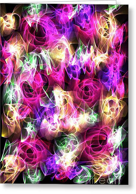 Office Space Mixed Media Greeting Cards - Space Roses Greeting Card by Cindy Adams