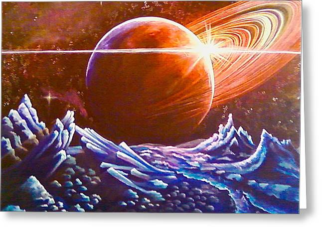Science Greeting Cards - Space Scape 2 Greeting Card by Helen Harcharek