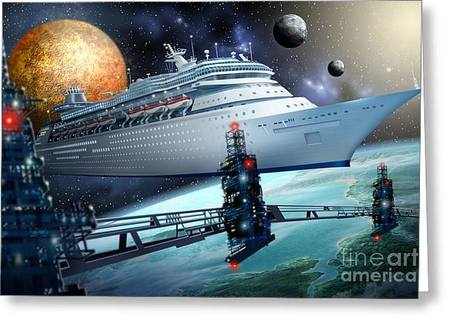 Man Greeting Cards Greeting Cards - Space Ship Greeting Card by Ciro Marchetti