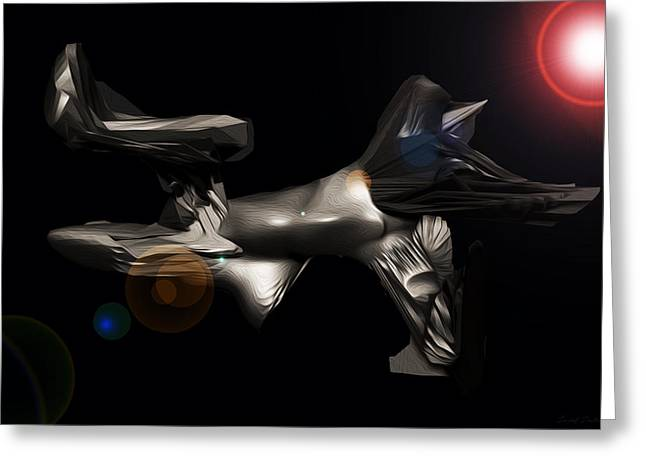 Office Space Digital Art Greeting Cards - Space Ship Sexon 2300 Light Years Away C 1 Greeting Card by Sir Josef  Putsche