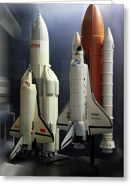 Space Shuttle And Buran Spacecrafts Greeting Card by Detlev Van Ravenswaay