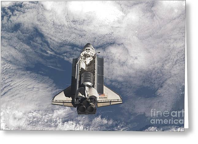 Atlantis Greeting Cards - Space Shuttle Atlantis Above A Cloud Greeting Card by Stocktrek Images
